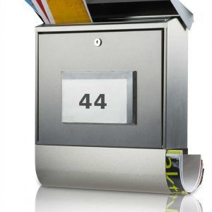 Burg-Wächter Solar-brievenbus Malaga RVS met LED huisnummer